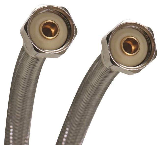 Fluidmaster B4FV16 Flexible Reinforced Faucet Connector, 1/2 in x 16 in, FIP, 1000 psi, Vinyl