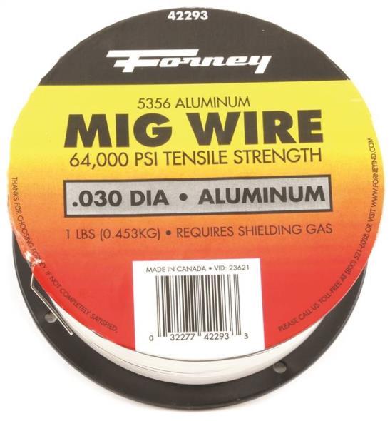 Forney 42293 MIG Welding Wire, 0.03 in Dia, Aluminum, DCEP Reverse Polarity