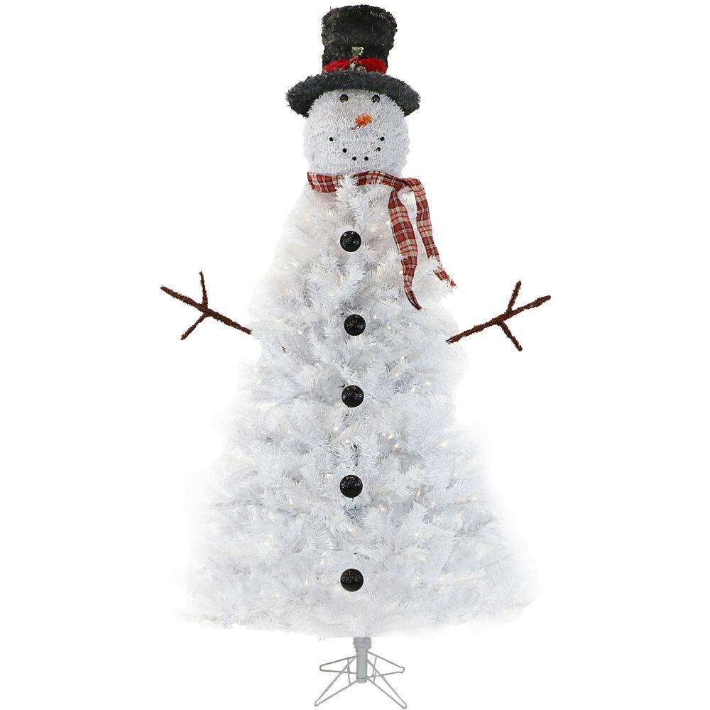 7' White Snowman Tree, LED Light