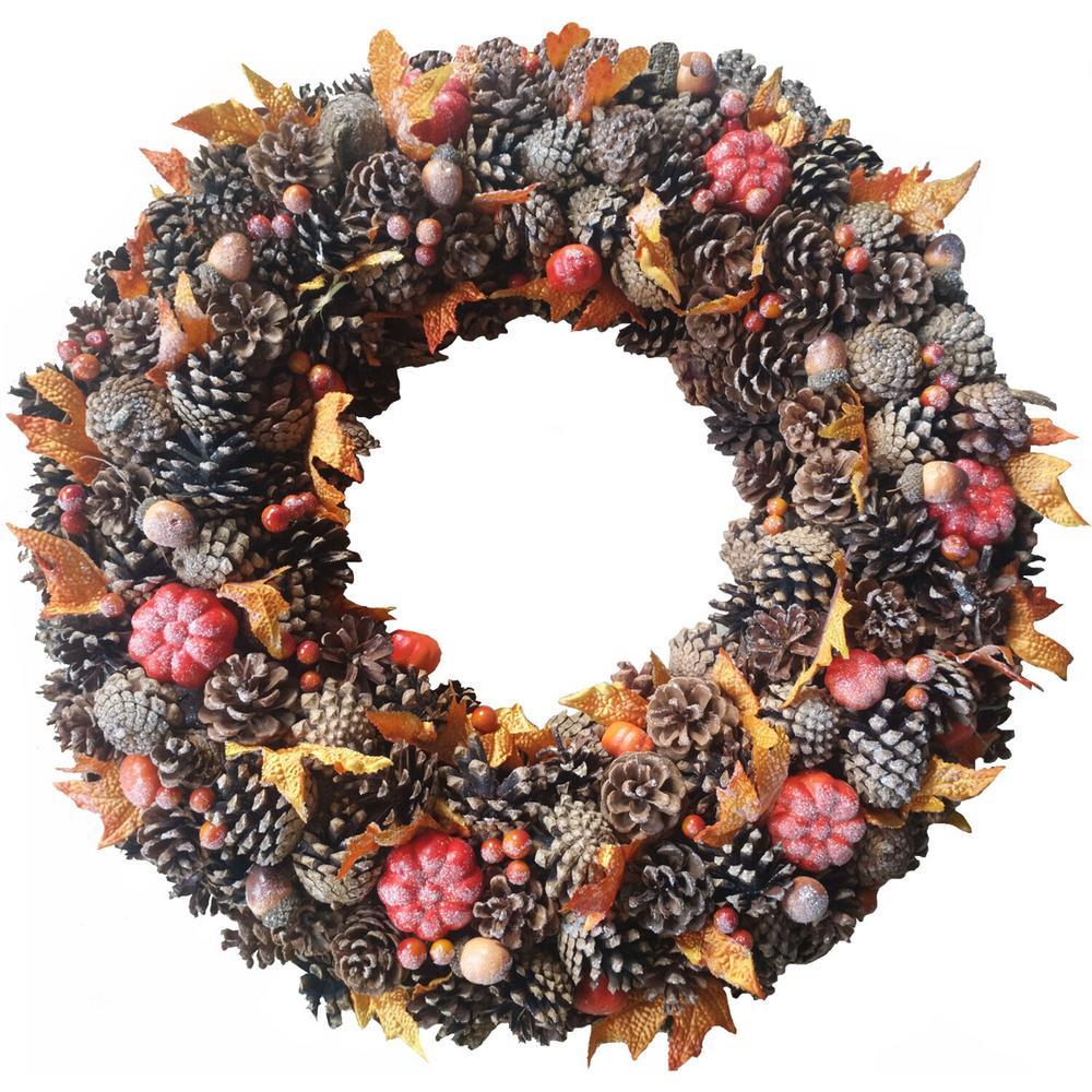 """24"""" Pinecones & Pumpkin Wreath"""