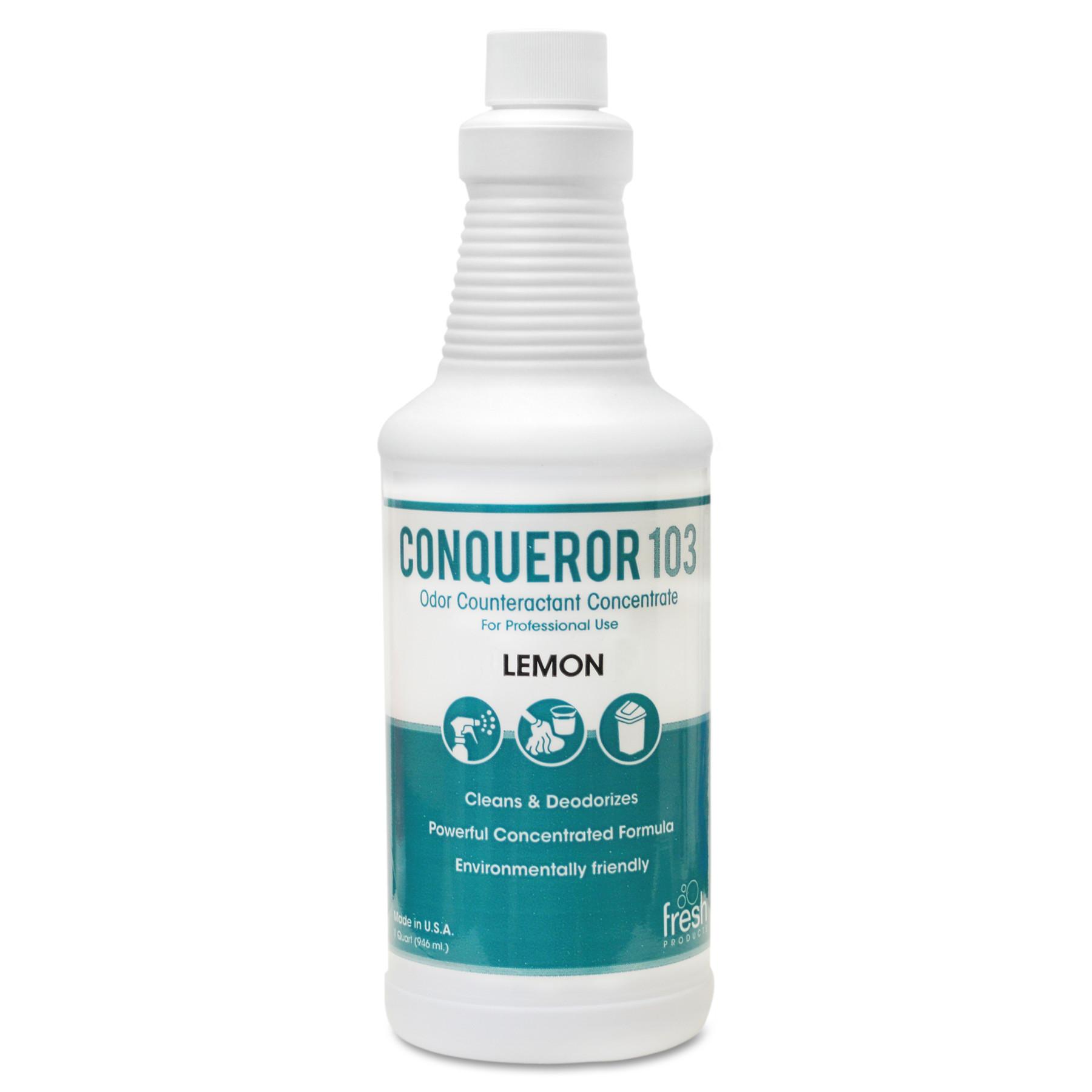Conqueror 103 Odor Counteractant Concentrate, Lemon, 32oz Bottle, 12/Carton