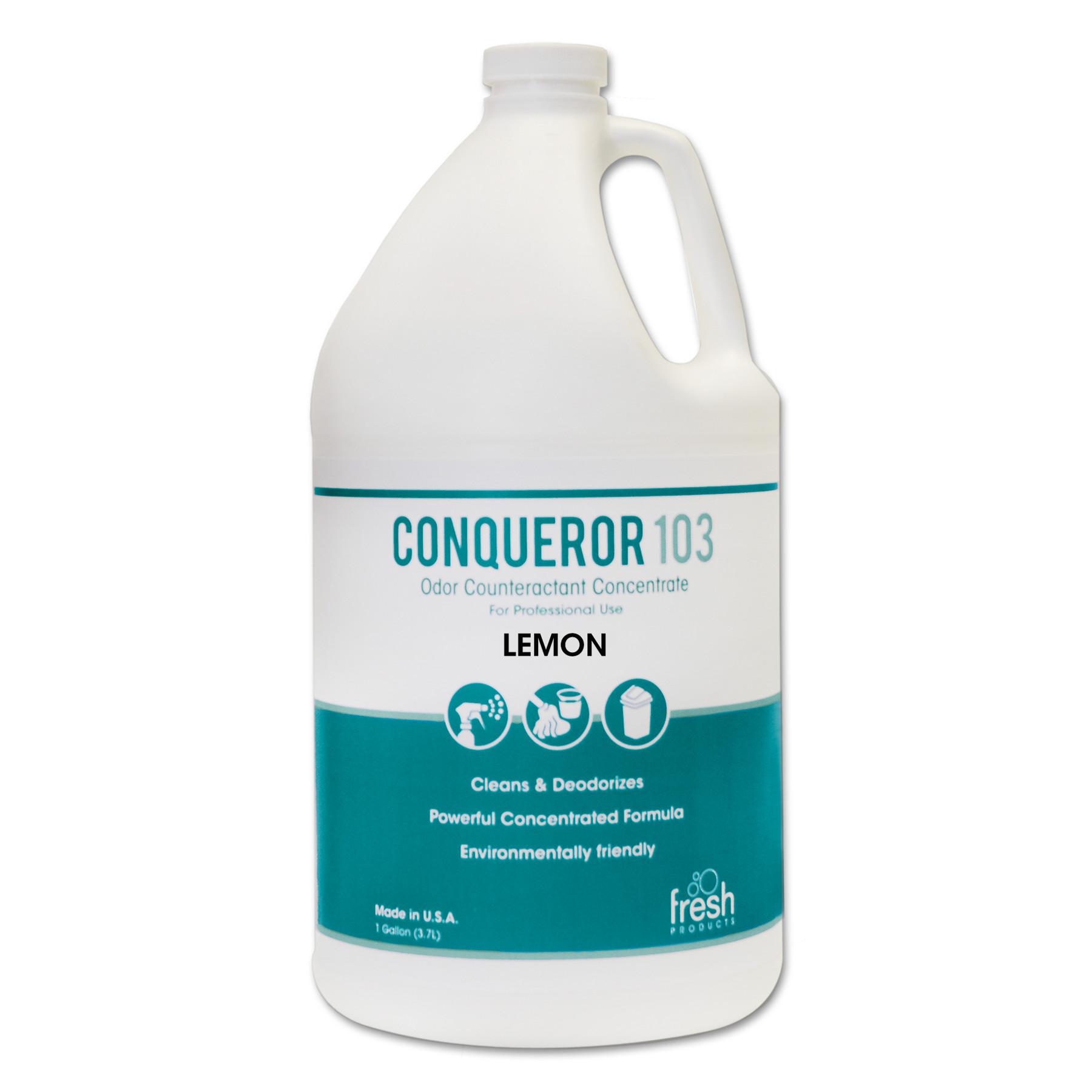 Conqueror 103 Odor Counteractant Concentrate, Lemon, 1 gal Bottle, 4/Carton