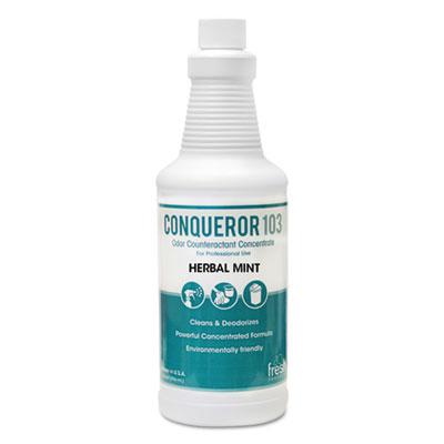 Conqueror 103 Odor Counteractant Concentrate, Herbal Mint, 32 oz Bottle,12/Ctn