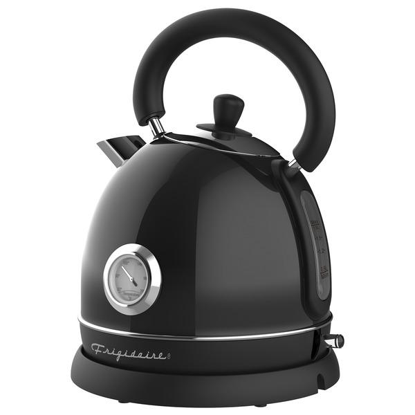 Frigidaire EKET125-BLACK 1.79-Quart 1,500-Watt Retro Porcelain Electric Water Kettle with Thermometer (Black)