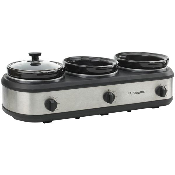 Frigidaire ESC3105-SS 420-Watt Triple Slow Cooker and Buffet Server with Three 2.5-Quart Ceramic Pots