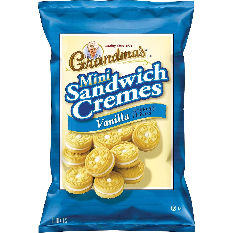 Mini Vanilla Cr�me Sandwich Cookies, 3.71 oz, 24/Carton