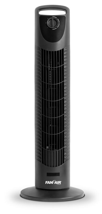 FANFAIR 30in TOWER FAN OSCILLATING, BLACK