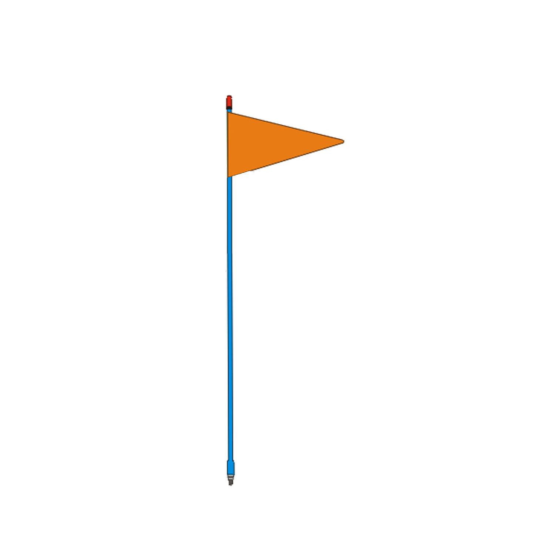 "FIRESTIK - F4-BL 4 FOOT BLUE FLAGSTICK WITH ORANGE TRIANGULAR SAFETY FLAG - STANDARD 3/8""-24 BASE THREADS"