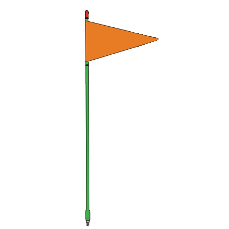"FIRESTIK - F4-G 4 FOOT GREEN FLAGSTICK WITH ORANGE TRIANGULAR SAFETY FLAG - STANDARD 3/8""-24 BASE THREADS"