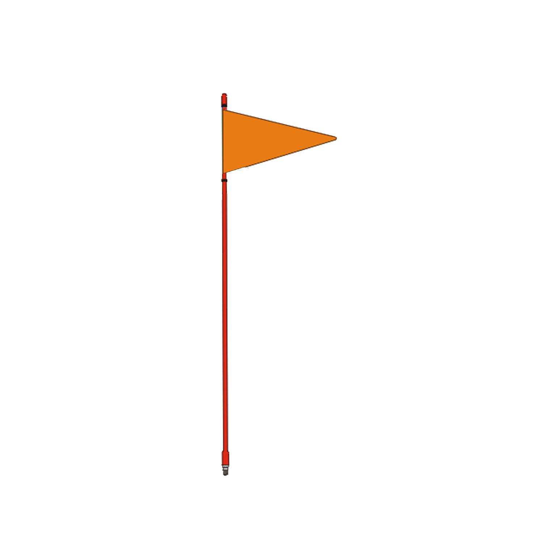 "FIRESTIK - F4-G 4 FOOT RED FLAGSTICK WITH ORANGE TRIANGULAR SAFETY FLAG - STANDARD 3/8""-24 BASE THREADS"
