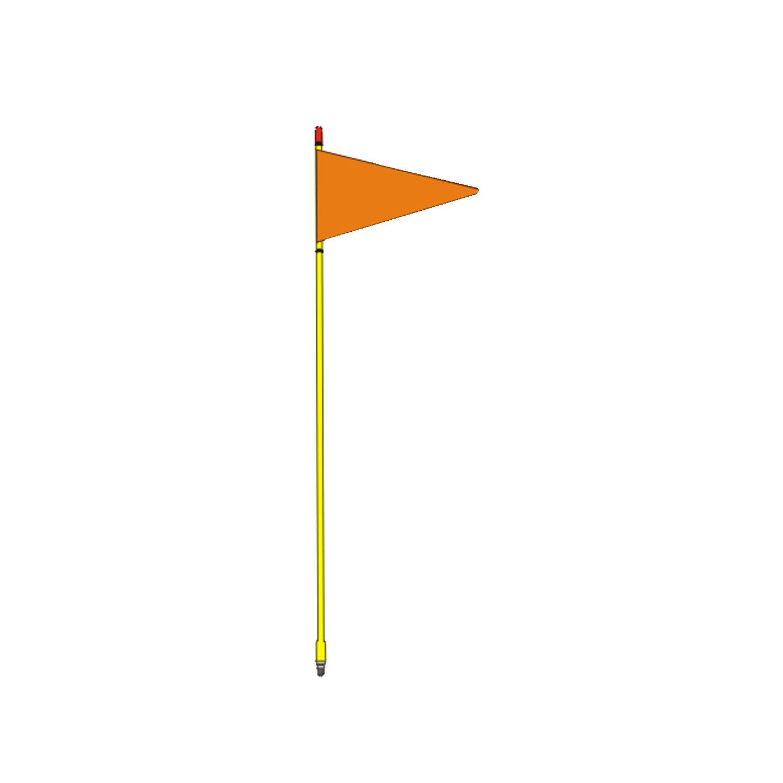"FIRESTIK - F4-G 4 FOOT YELLOW FLAGSTICK WITH ORANGE TRIANGULAR SAFETY FLAG - STANDARD 3/8""-24 BASE THREADS"