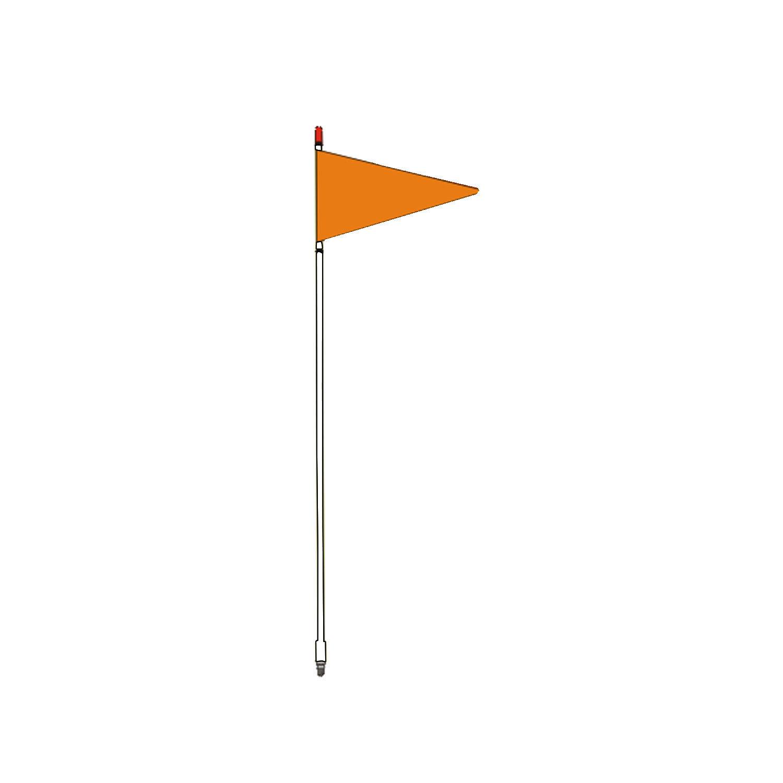 "FIRESTIK - F4-W 4 FOOT WHITE FLAGSTICK WITH ORANGE TRIANGULAR SAFETY FLAG - STANDARD 3/8""-24 BASE THREADS"