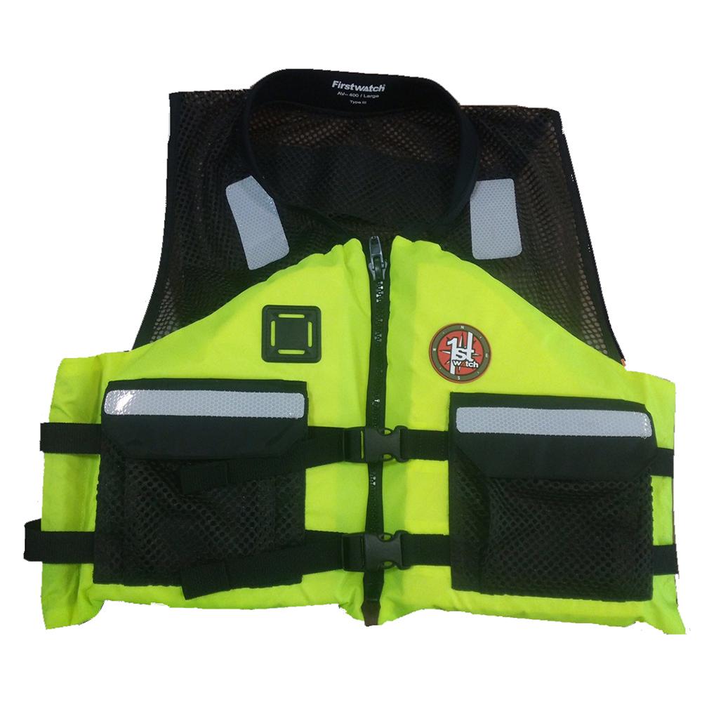 First Watch AV-500 Industrial Mesh Vest (USCG Type III) - Hi-Vis Yellow/Black - Small