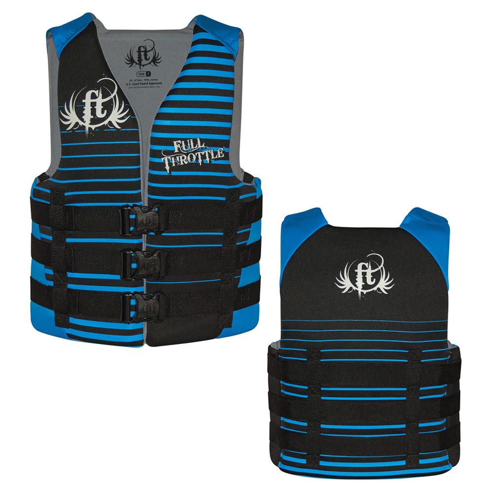 Full Throttle Rapid-Dry Life Vest - Teen 90lbs & Over - Black/Blue