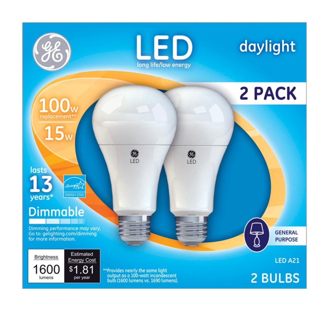 100W LED Bulbs, 15 W, A19, Daylight, 2/Pack