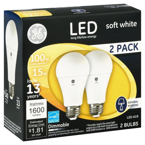 100W LED Bulbs, 15 W, A19, Soft White, 2/Pack