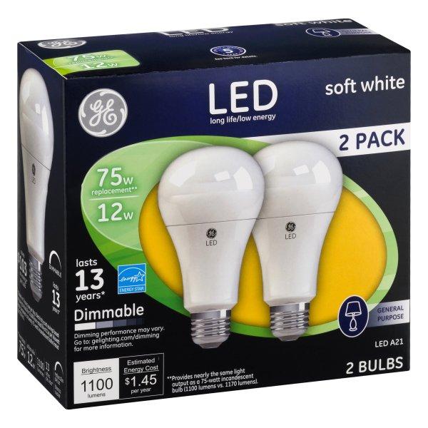 75W LED Bulbs, 12 W, A19 Bulb, Soft White, 2/Pack