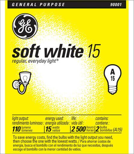15A/W A-15 SOFT WHITE 120V BULB
