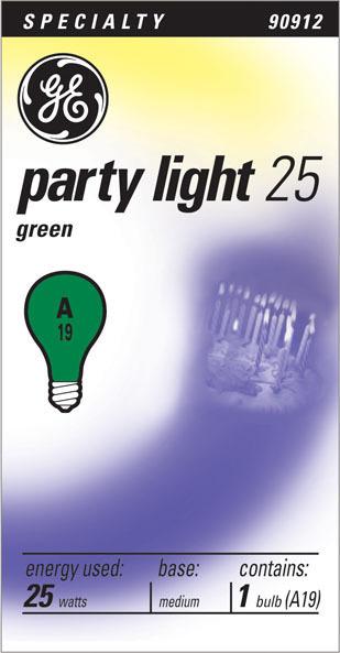 25W GREEN PARTY LIGHT25 BULB