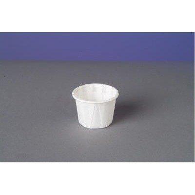 Squat Paper Portion Cup, .75oz, White, 250/Bag, 20 Bags/Carton