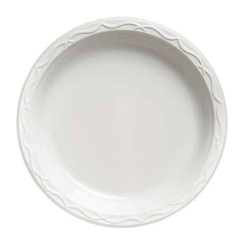 Aristocrat Plastic Plates, 9 Inches, White, Round, 125/Pack