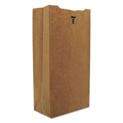 #8 Paper Grocery Bag, 35lb Kraft, Standard 6 1/8 x 4 1/6 x 12 7/16, 2000 bags