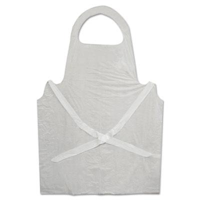 Disposable Apron, White, Poly, 28 x 45, 1.25 mil, One Size, 100/Pk