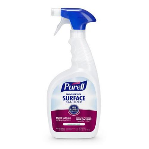 Foodservice Surface Sanitizer, Fragrance Free, 32 oz Spray Bottle, 6/Carton