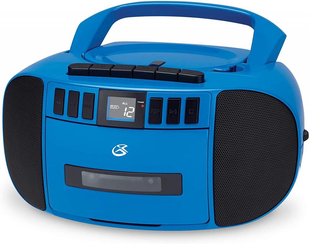 GPX CD/CASSETTE/AM-FM/BOOMBOX W/AUX BLUE