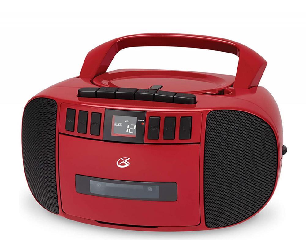 GPX CD/CASSETTE/AM-FM BOOMBOX W/AUX RED