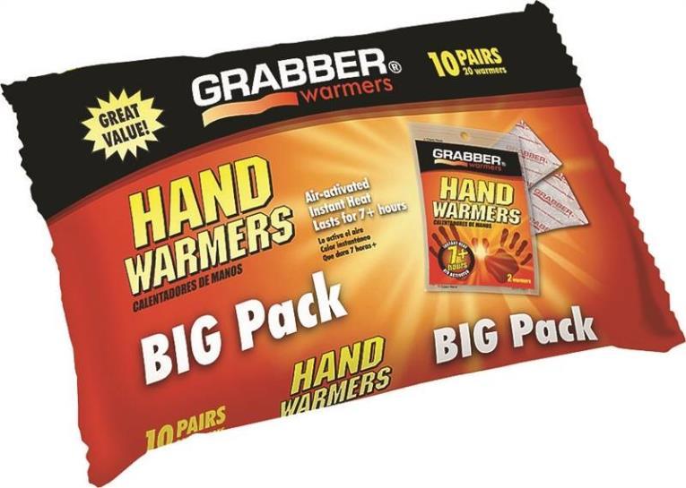 Grabber HWPP10 Non-Toxic Hand Warmer, 7 hr, 135 Deg F