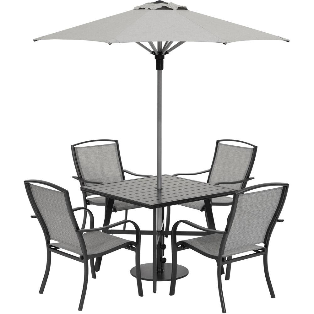 "Foxhill 5pc Dining Set: 4 Sling Dining Chairs, 30"" Sq Slat Tbl, Umb & Base"