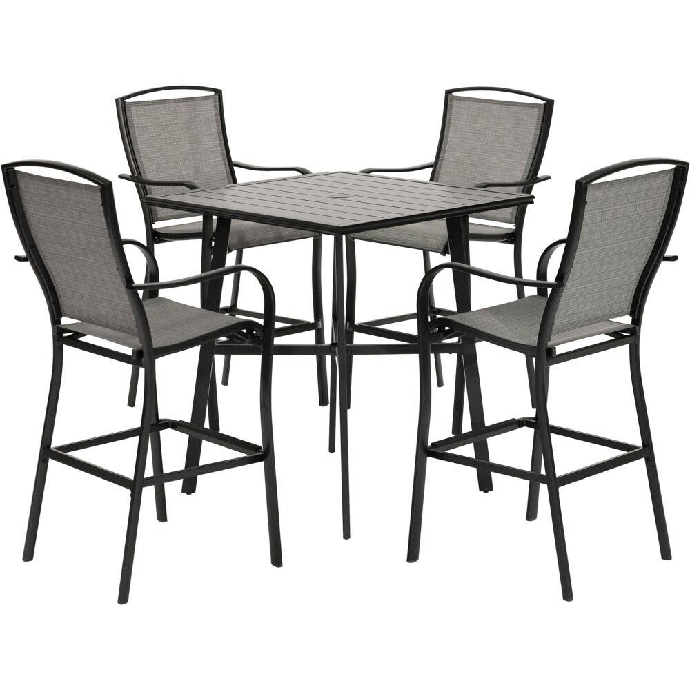 "Foxhill5pc Counter Height Dining Set:4 Sling Cnt Hgt Chrs, 42"" Slat Tbl"