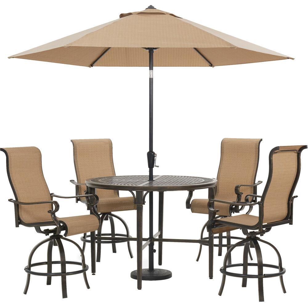 "Brigantine5pc: 4 Swivel Bar Chairs, 50"" Round Bar Tbl, Umb & Base"