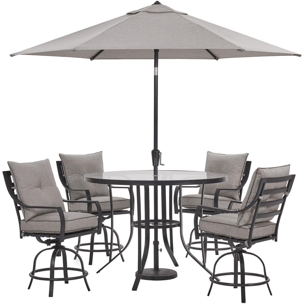 Lavallette5pc: 4 Swivel Bar Chairs, Bar Glass Tbl, Umbrella & Base