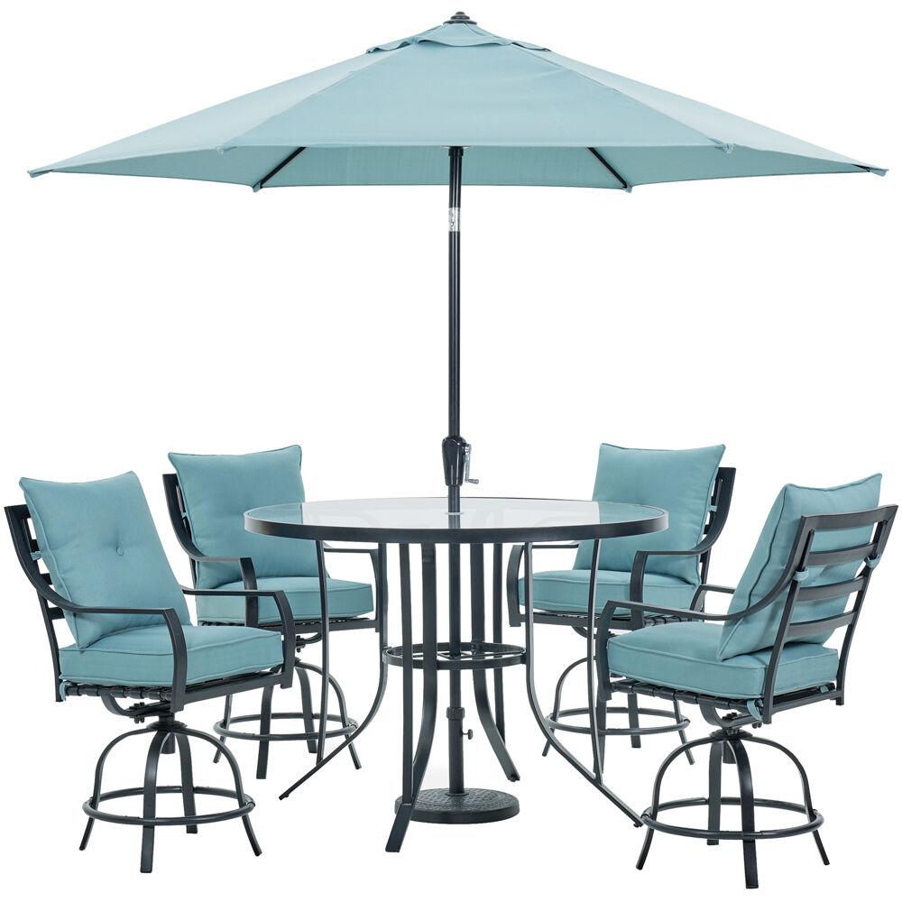 Lavallette5pc: 4 Swivel Bar Chairs, Bar Glass Table, Umbrella & Base