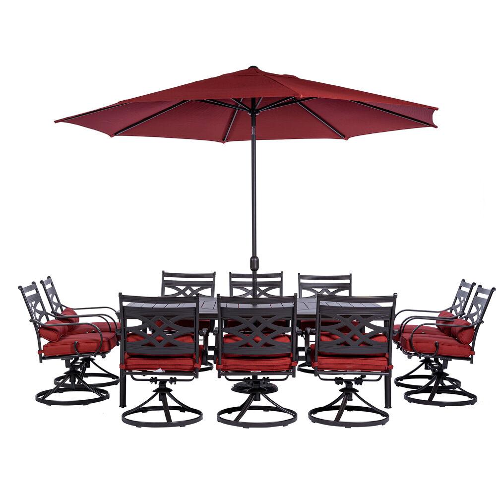 "Montclair11pc: 10 Swivel Rockers, 60""x84"" Table, Umbrella, Umb Base"