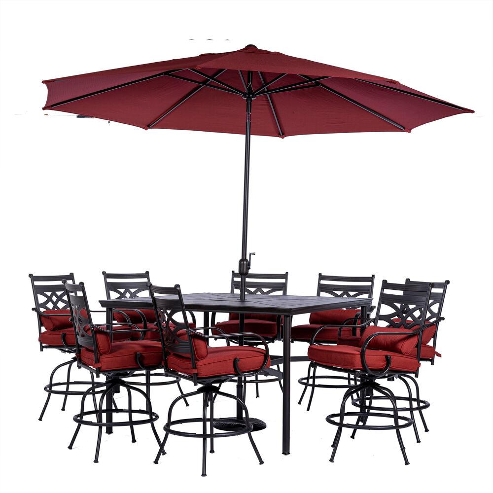"Montclair9pc High Dining: 8 Swivel Chrs, 60"" High Tbl, Umbrella & Base"