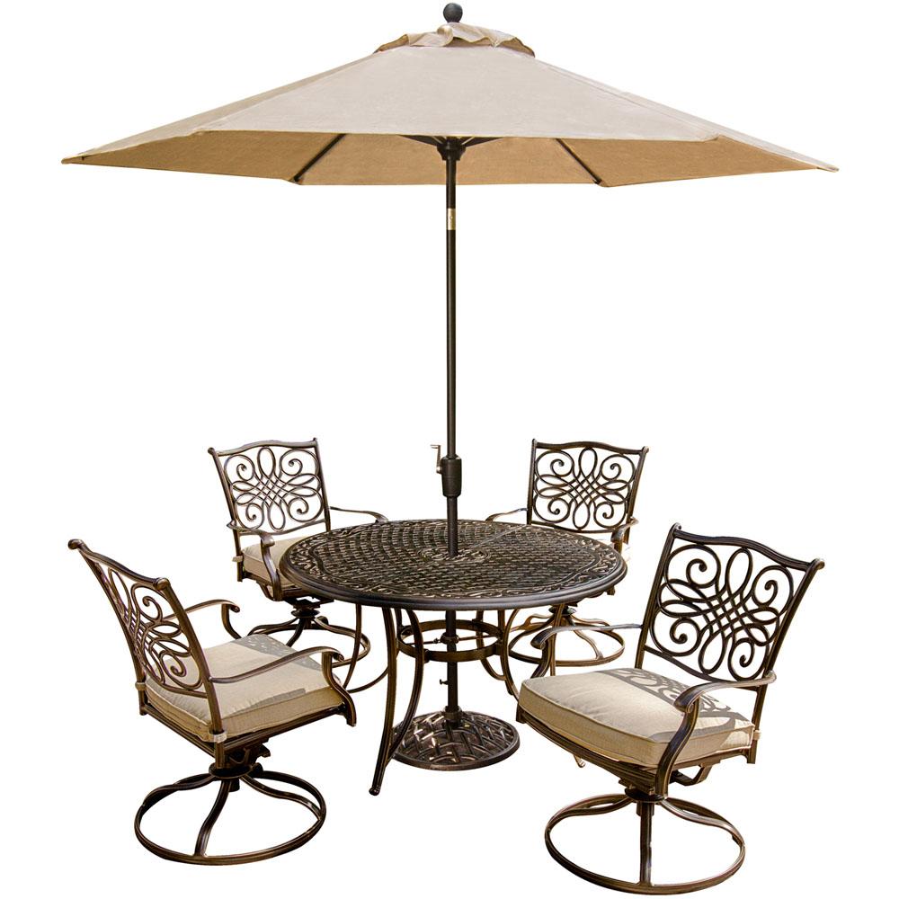 5 Piece Dining Set,Umbrella & Stand