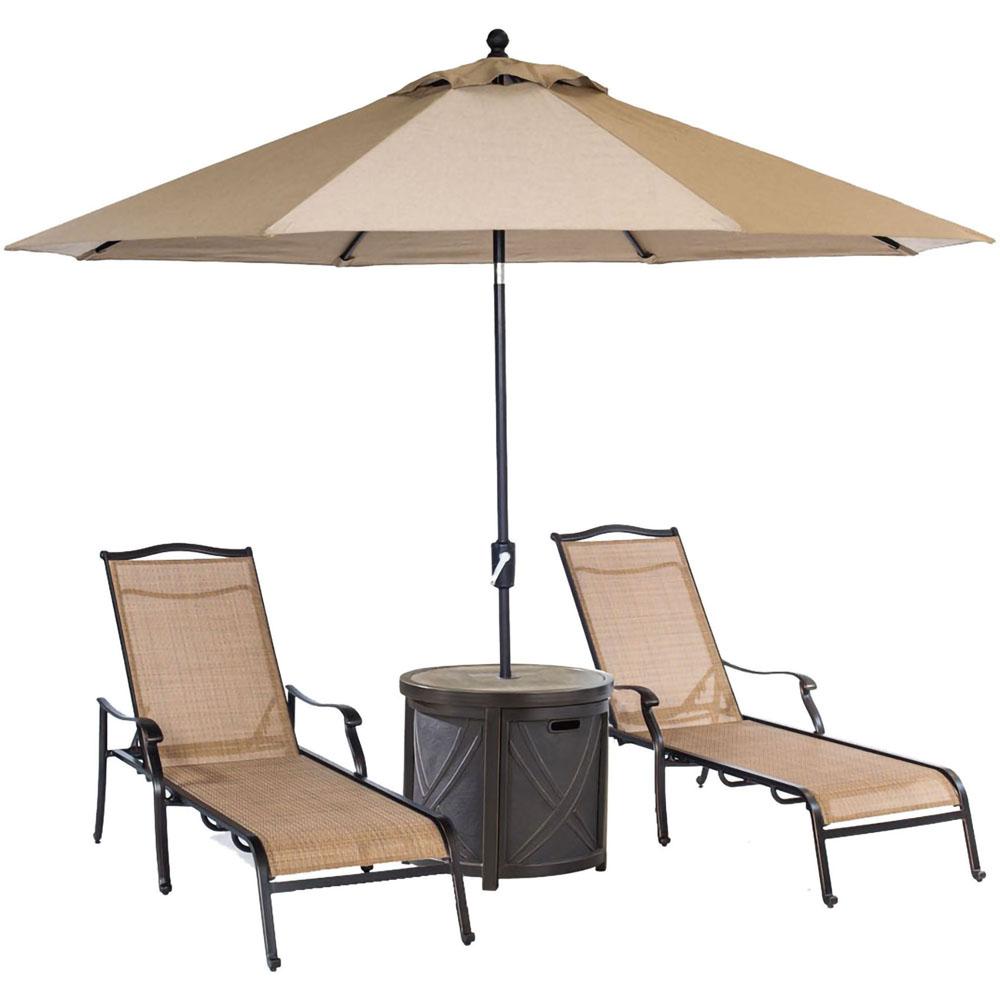 "Monaco 3pc Set: 2 Sling Chaise Lounges, 25"" Round Tile Umb Tbl & Umbrella"