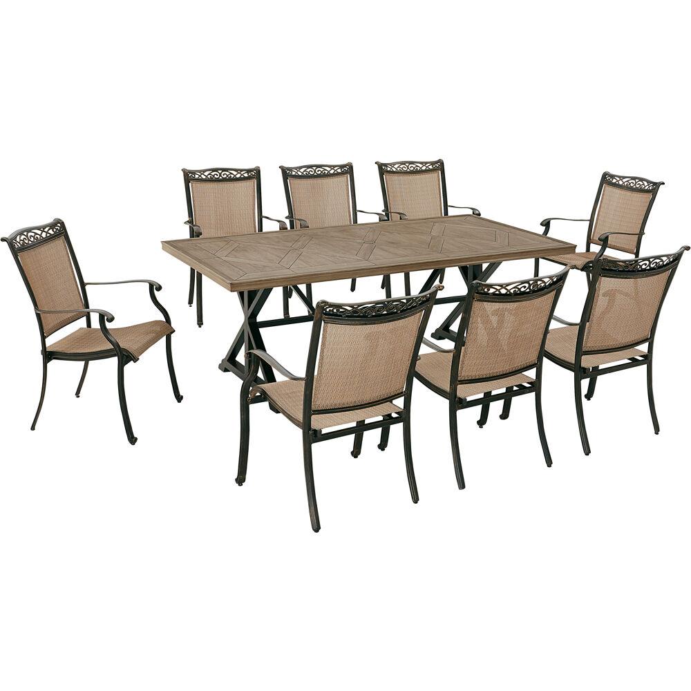 "Fontana9pc: 8 Sling Dining Chairs, 42""x80"" Farmhouse Table"