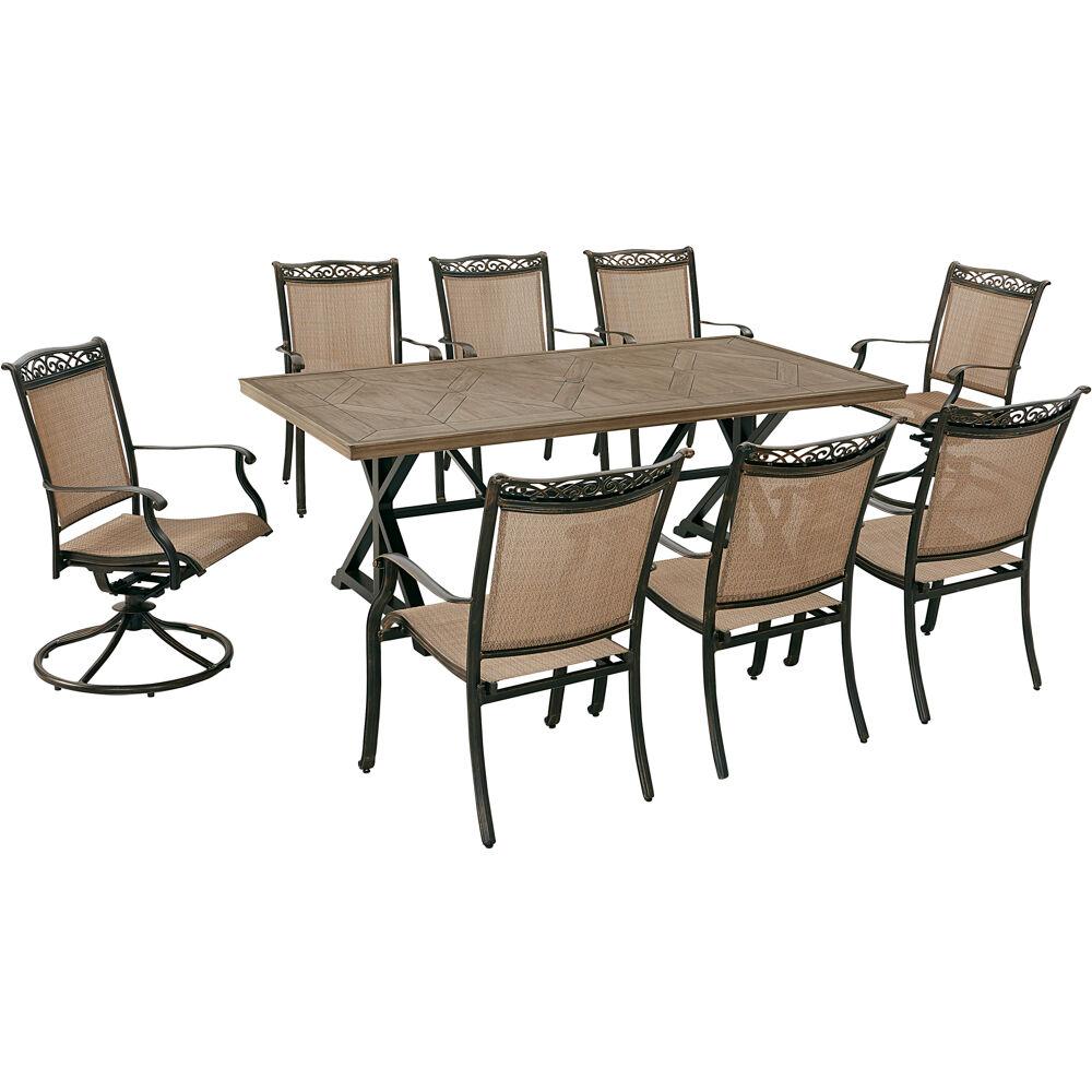 "Fontana9pc: 6 Sling Chairs, 2 Sling Swivel Rockers, 42""x80"" Farmhouse Tbl"