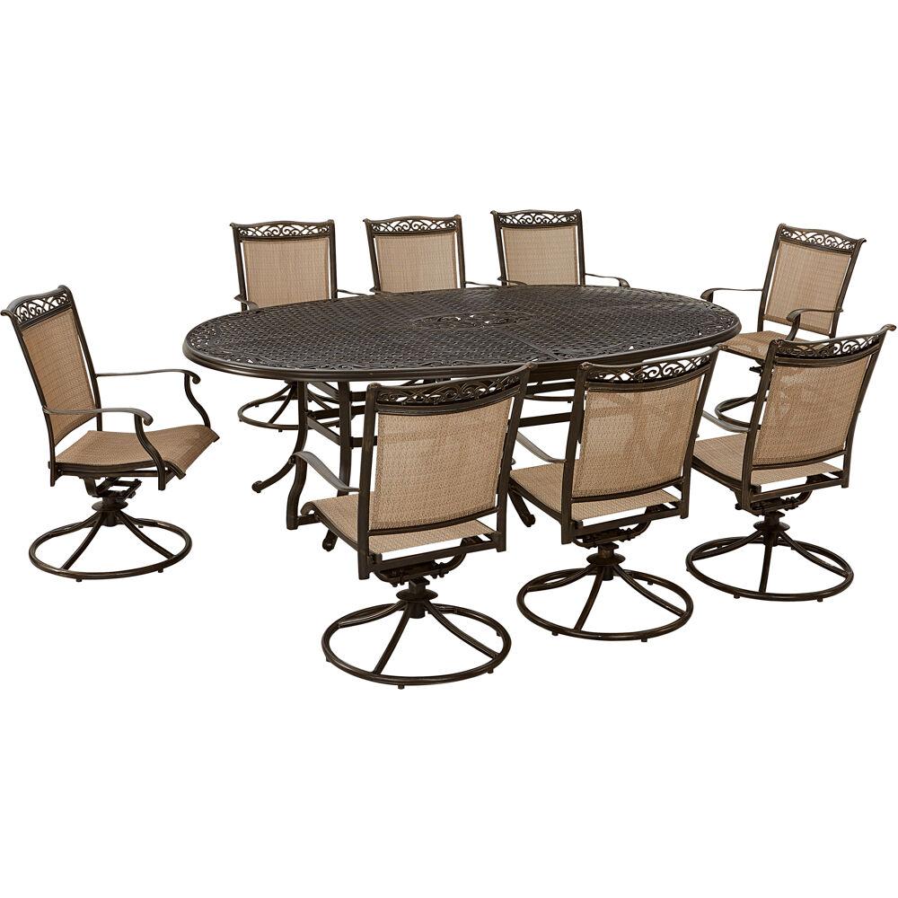 "Fontana9pc: 8 Sling Swivel Rockers, 96""x60"" Oval Cast Table"