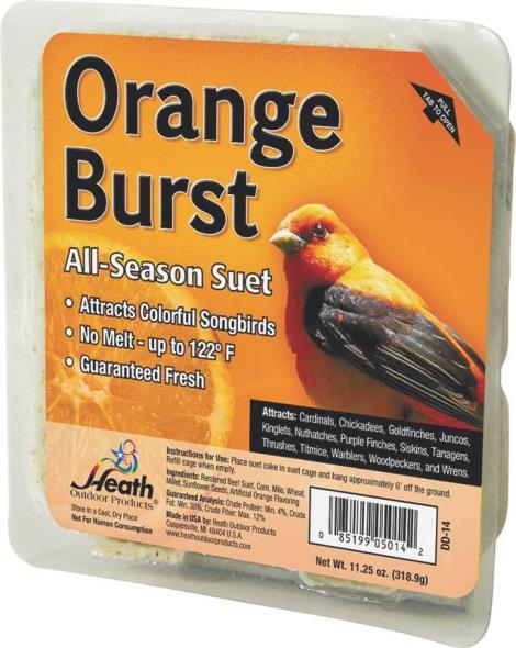 Heath Outdoor DD-14 All Season Orange Burst Suet Cake, 11.25 oz