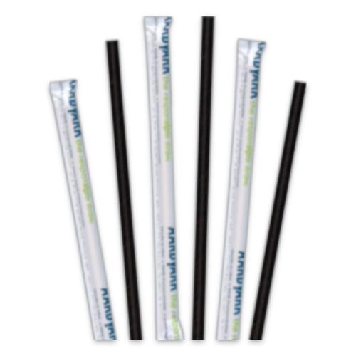 "Aardvark Paper Straws, 5.75"", Black, 3,200/Carton"