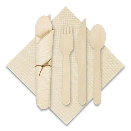 "Pre-Rolled Caterwrap Kraft Napkins with Wood Cutlery, 6 x 12 Napkin;Fork;Knife;Spoon, 7"" to 9"", Kraft, 100/Carton"