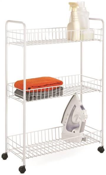 Honey-Can-Do CRT-01149 3-Tier Laundry Cart, Steel, White