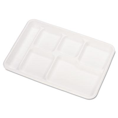 Heavy-Weight Molded Fiber Cafeteria Trays, 6-Comp, 8 1/2 x 12 1/2, 500/Carton