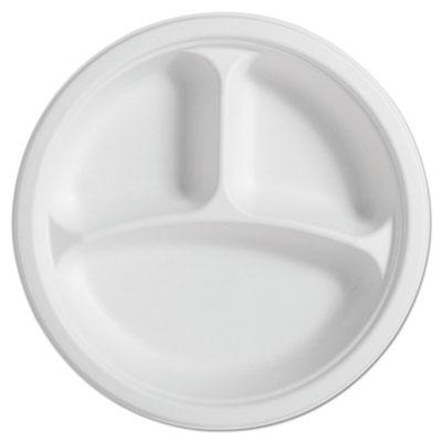 "PaperPro Naturals Fiber Round Plates, 3-Comp, 10 1/4"", Natural, 125/PK, 4 PK/CT"