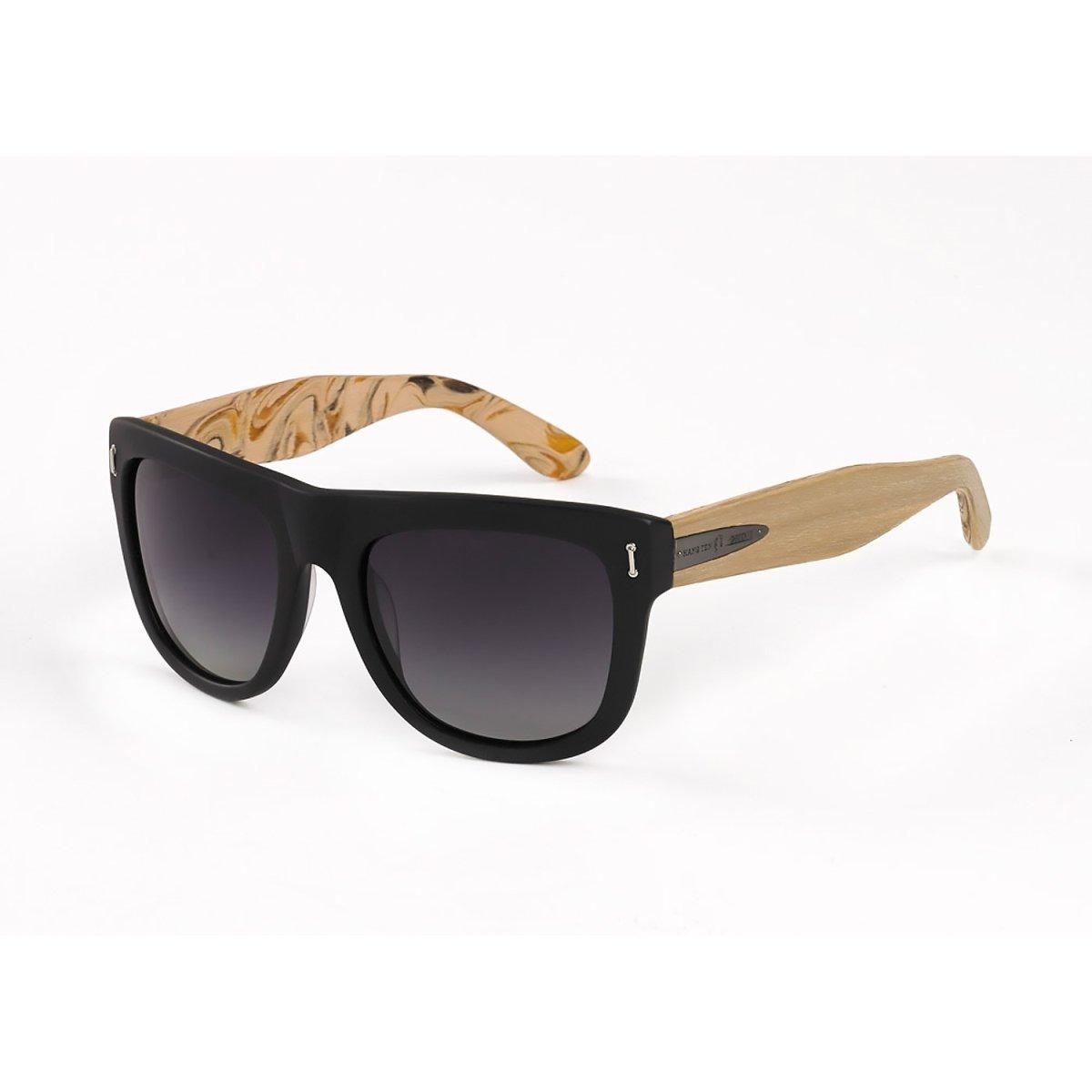 Hang Ten Gold Surf Woody-Matte Black Pine Wood/Green Lens